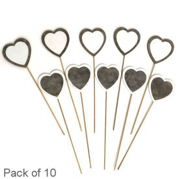 GREY/WHITE HEART ON STICK