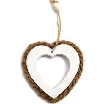 WOODEN ROPE HEART