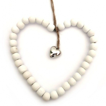 WILLOW BEADED HEART WHITE