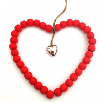 WILLOW BEADED HEART RED
