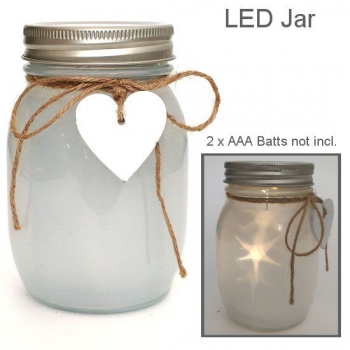LED HEART JAR WHITE