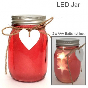 LED HEART JAR RED