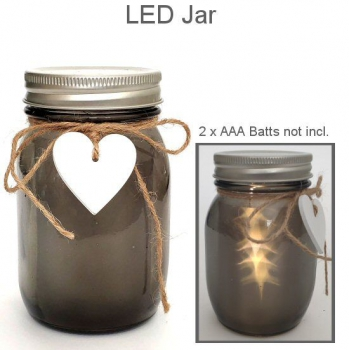 LED HEART JAR GREY