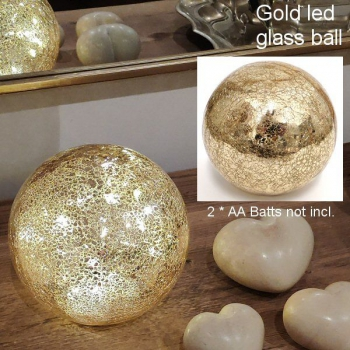 GLASS LED BALL GOLD 15cm