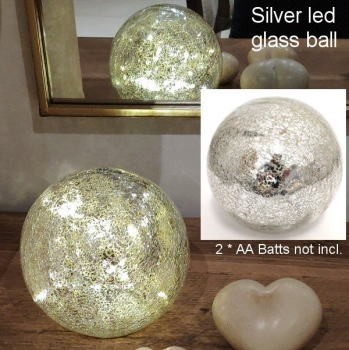 GLASS LED BALL SILVER 15cm