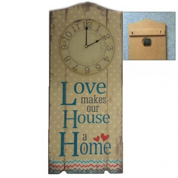 WOODEN WALL PLAQUE WITH CLOCK
