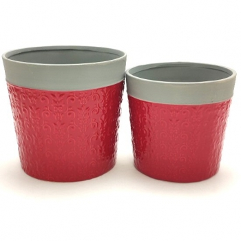 POT COVER RED & GREY SET 2