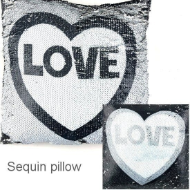 PILLOW SEQUIN GREY LOVE