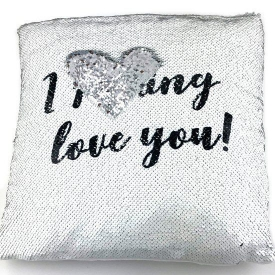 PILLOW SEQUIN I LOVE YOU