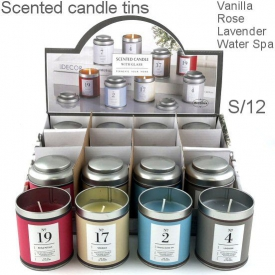 TINS SCENTED CANDLES DISPLAY 12