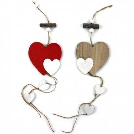 WOODEN HEART ON STRING