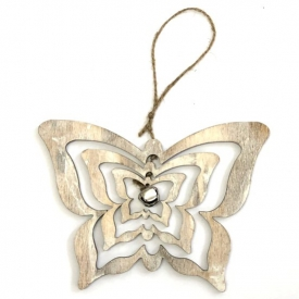 WOODEN BUTTERFLY ON STRING