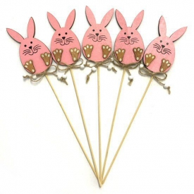 WOODEN BUNNY ON STICK PINK
