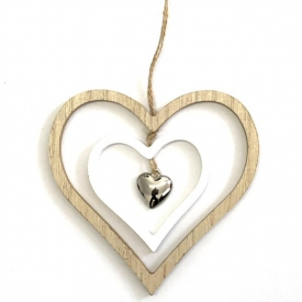 WOODEN CUT OUT HEARTS HANGING