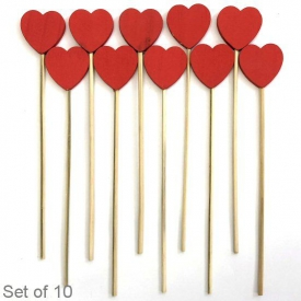 WOODEN HEART ON STICK