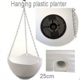 HANGING PLASTIC POT WHITE MEDIUM