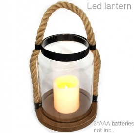 LANTERN WITH PLASTIC LED CANDLE