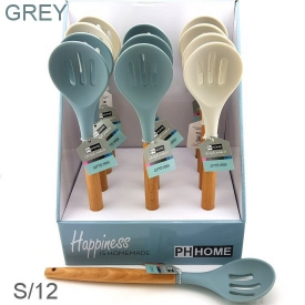 SILICONE SLOTTED SPOON GREY