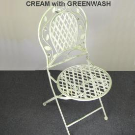 CHAIR GREEN WITH WHITE BASE