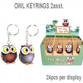 OWL KEYRING 2 ASSTD
