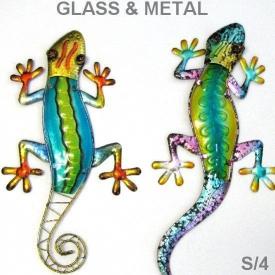 GLASS GECKO WALL HANGING 4 ASSTD