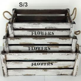 FLOWERS CRATE CREAM SET 3