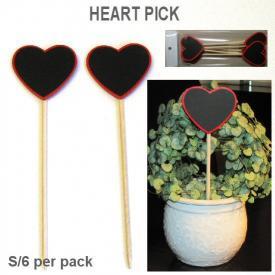 HEART STICK BLACKBOARD RED SET 6