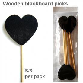 HEART BLACKBOARD PICK BLACK S/6