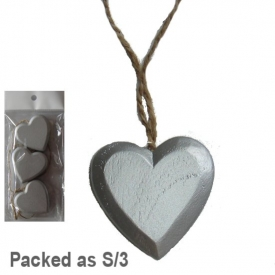 SILVER HEART ON STRING SET 3
