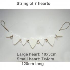 WHITE HANGING HEARTS
