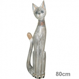 WOODEN CAT 80CM