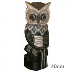 WOODEN OWL 40CM