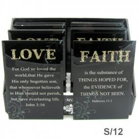 GLASS PLAQUE- LOVE,FAITH
