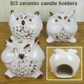 OWL CANDLE HOLDER 3 ASSTD