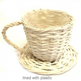 WICKER TEACUP WHITE